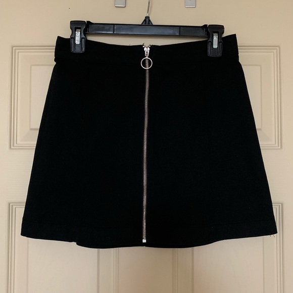 d2e65866e H&M Skirts | Hm Black Denim Zipup Mini Skirt Size 8 | Poshmark
